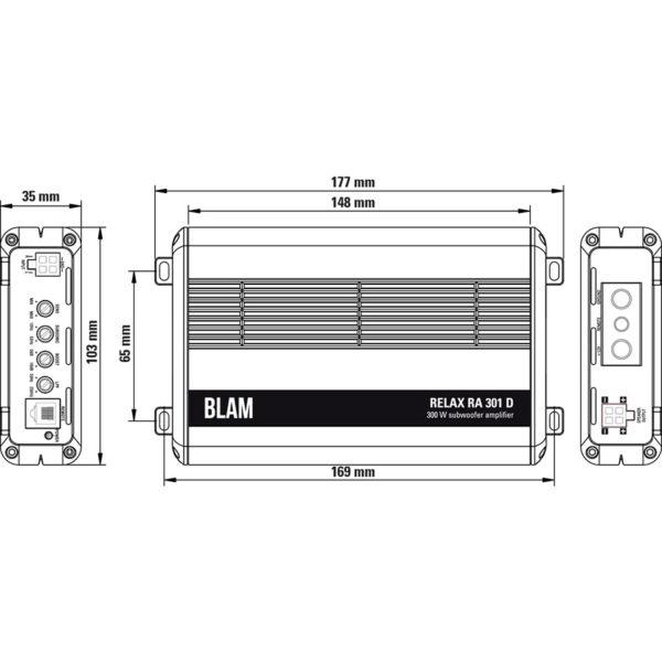 BLAM Relax RA301D monovahvistin mitat