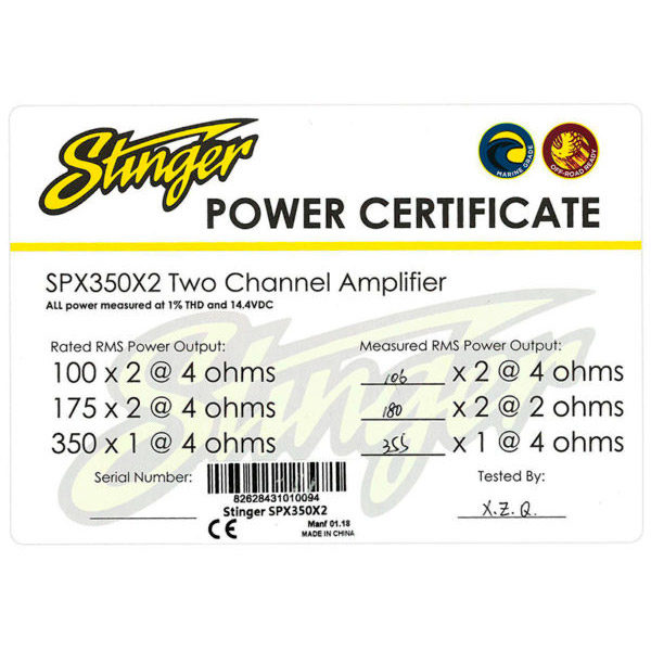 Stinger SPX700X4 vahvistimen sertifikaatti