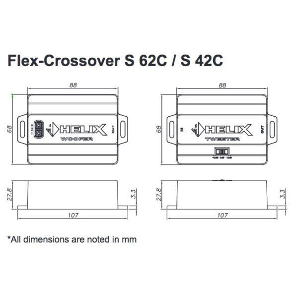 Helix S 42C erillissarjan suotimien mitat
