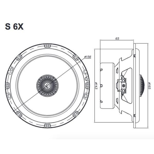 Helix S 6X koaksiaalikaiutin mitat