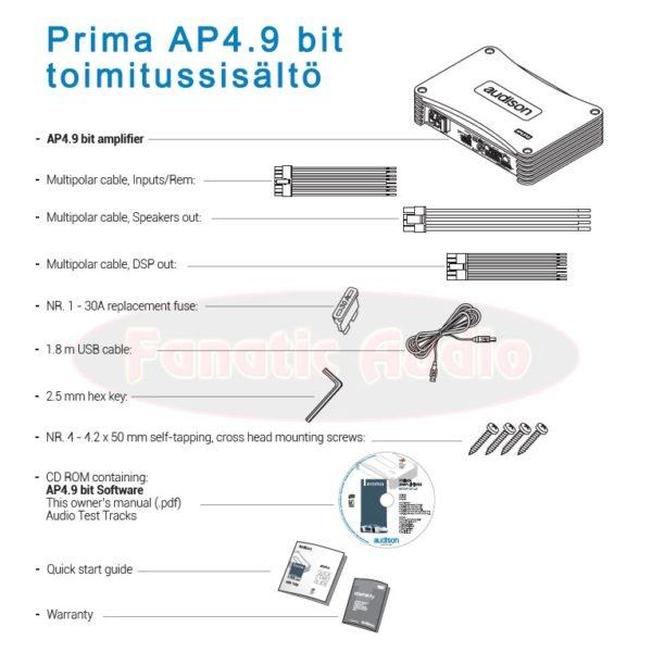 Prima AP4.9 bit toimitussisältö
